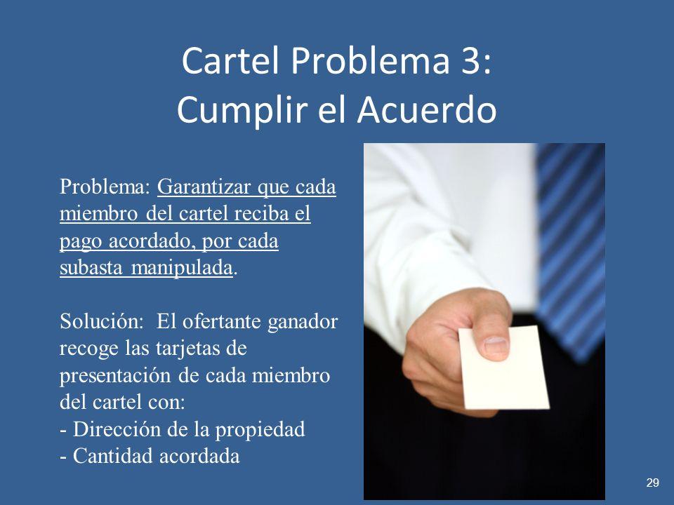 Cartel Problema 3: Cumplir el Acuerdo 29 Problema: Garantizar que cada miembro del cartel reciba el pago acordado, por cada subasta manipulada.
