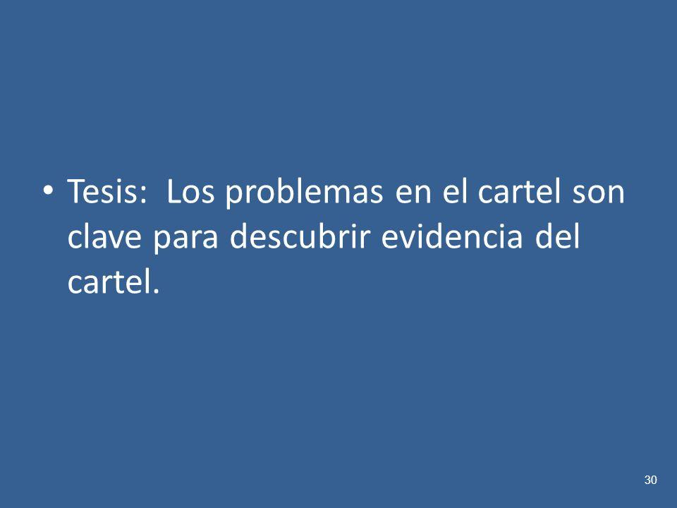 Tesis: Los problemas en el cartel son clave para descubrir evidencia del cartel. 30
