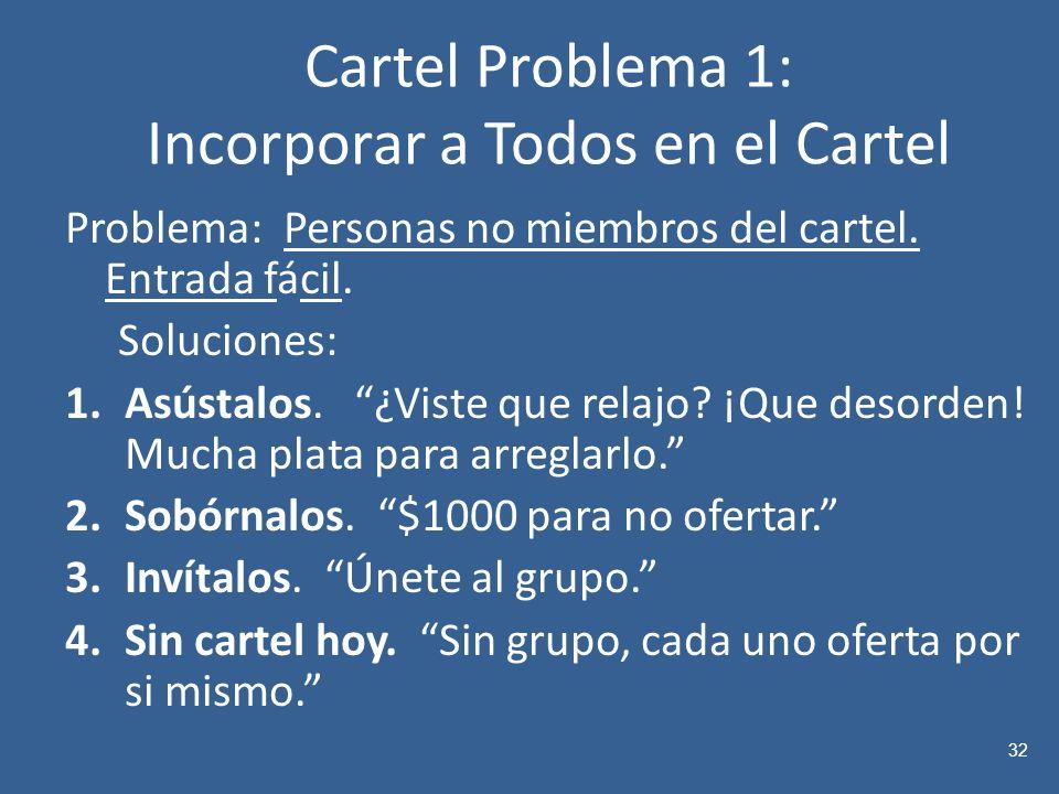 Cartel Problema 1: Incorporar a Todos en el Cartel Problema: Personas no miembros del cartel.