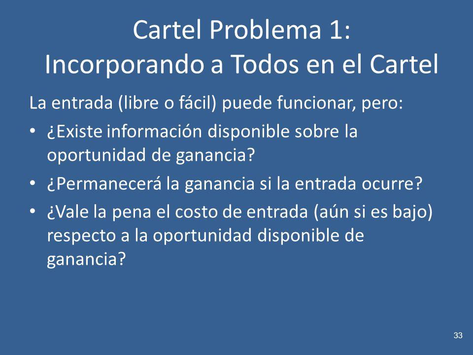 Cartel Problema 1: Incorporando a Todos en el Cartel La entrada (libre o fácil) puede funcionar, pero: ¿Existe información disponible sobre la oportunidad de ganancia.