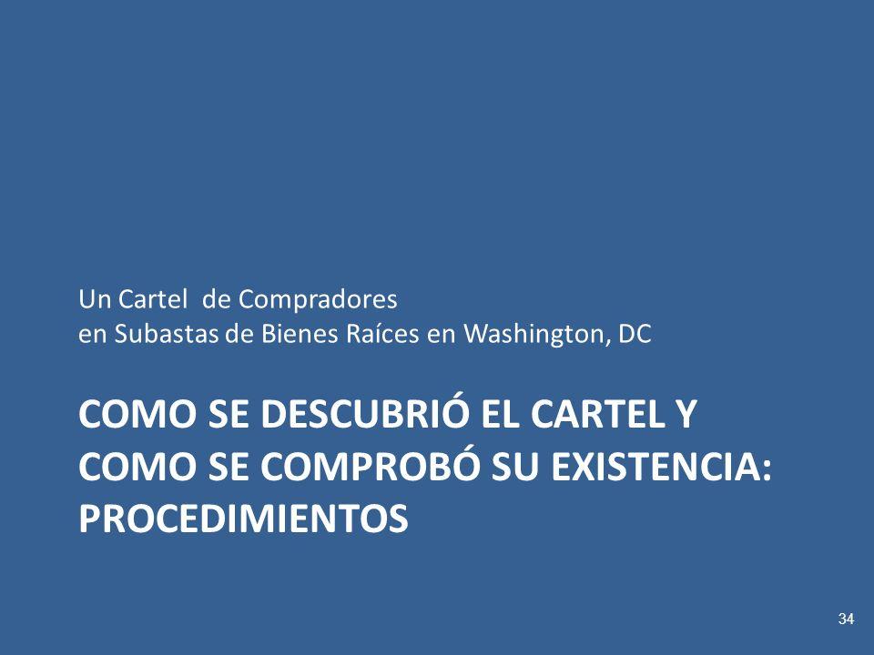 COMO SE DESCUBRIÓ EL CARTEL Y COMO SE COMPROBÓ SU EXISTENCIA: PROCEDIMIENTOS Un Cartel de Compradores en Subastas de Bienes Raíces en Washington, DC 34