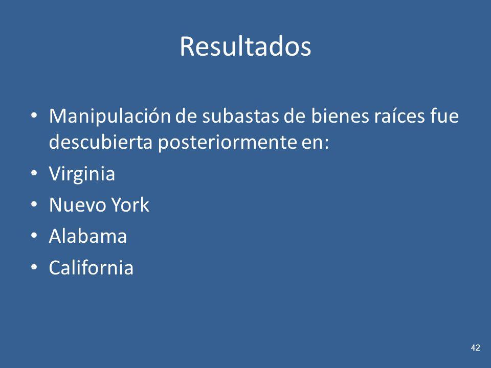 Resultados Manipulación de subastas de bienes raíces fue descubierta posteriormente en: Virginia Nuevo York Alabama California 42