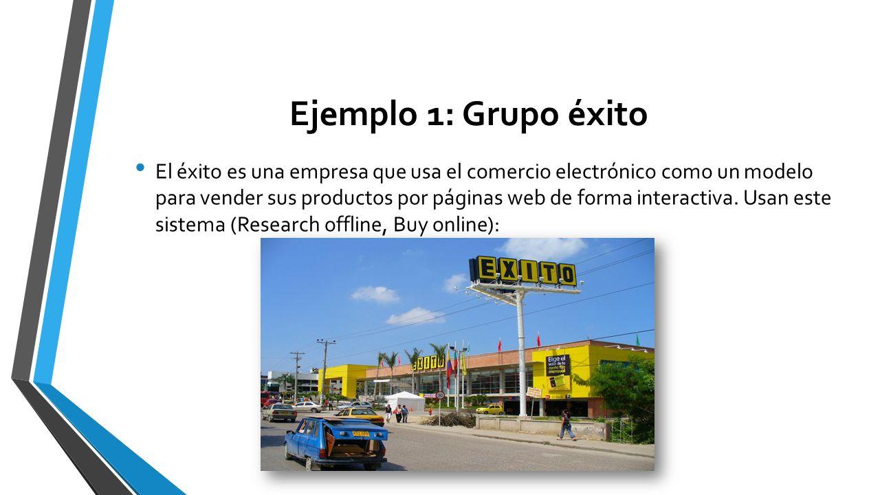 Ejemplo 1: Grupo éxito El éxito es una empresa que usa el comercio electrónico como un modelo para vender sus productos por páginas web de forma inter
