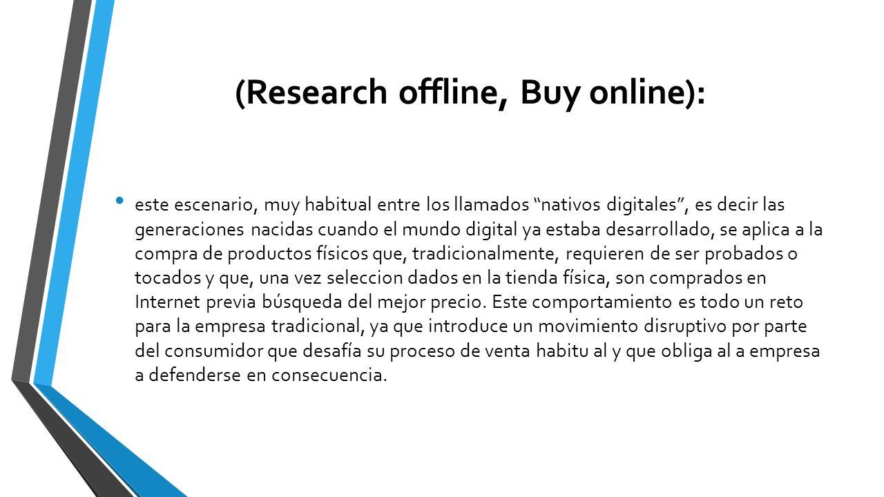 (Research offline, Buy online): este escenario, muy habitual entre los llamados nativos digitales, es decir las generaciones nacidas cuando el mundo d