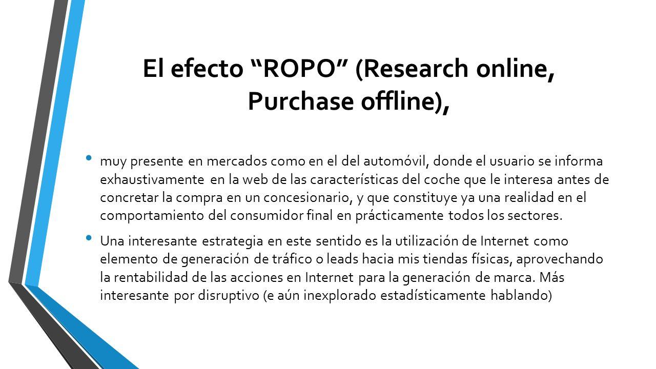 El efecto ROPO (Research online, Purchase offline), muy presente en mercados como en el del automóvil, donde el usuario se informa exhaustivamente en