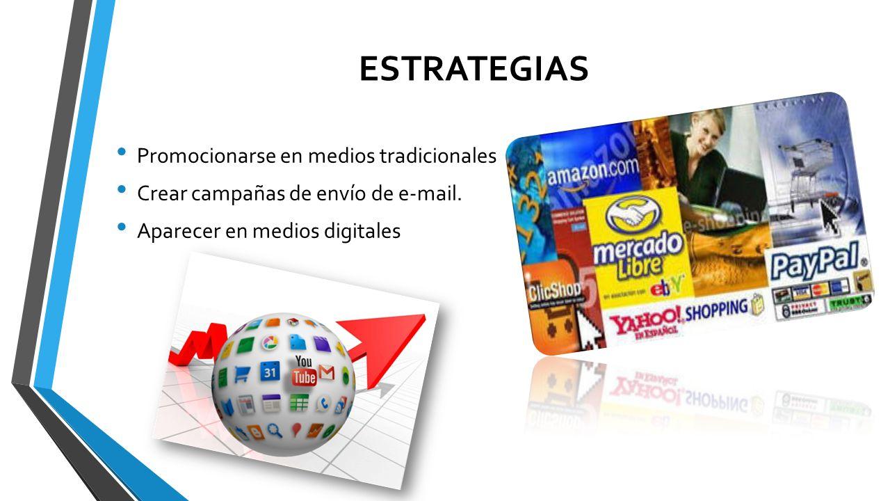 ESTRATEGIAS Promocionarse en medios tradicionales Crear campañas de envío de e-mail. Aparecer en medios digitales