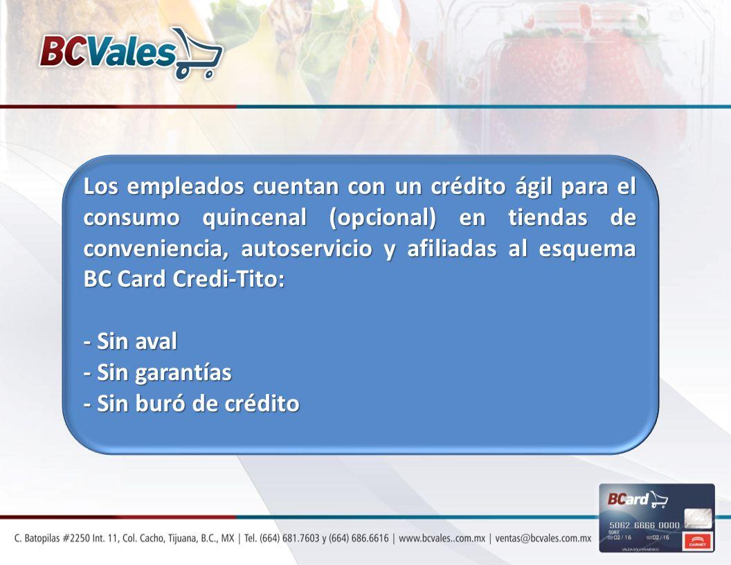 Los empleados cuentan con un crédito ágil para el consumo quincenal (opcional) en tiendas de conveniencia, autoservicio y afiliadas al esquema BC Card