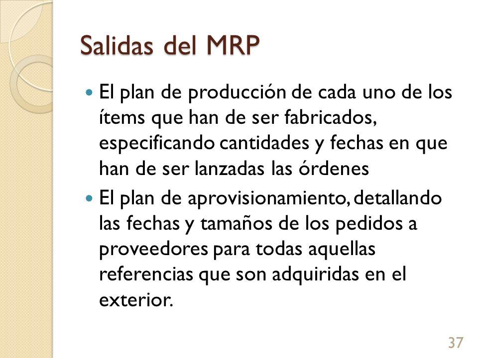 Salidas del MRP El plan de producción de cada uno de los ítems que han de ser fabricados, especificando cantidades y fechas en que han de ser lanzadas las órdenes El plan de aprovisionamiento, detallando las fechas y tamaños de los pedidos a proveedores para todas aquellas referencias que son adquiridas en el exterior.