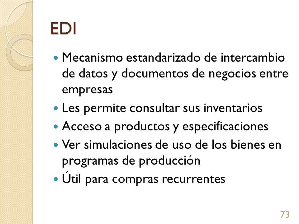 EDI Mecanismo estandarizado de intercambio de datos y documentos de negocios entre empresas Les permite consultar sus inventarios Acceso a productos y especificaciones Ver simulaciones de uso de los bienes en programas de producción Útil para compras recurrentes 73