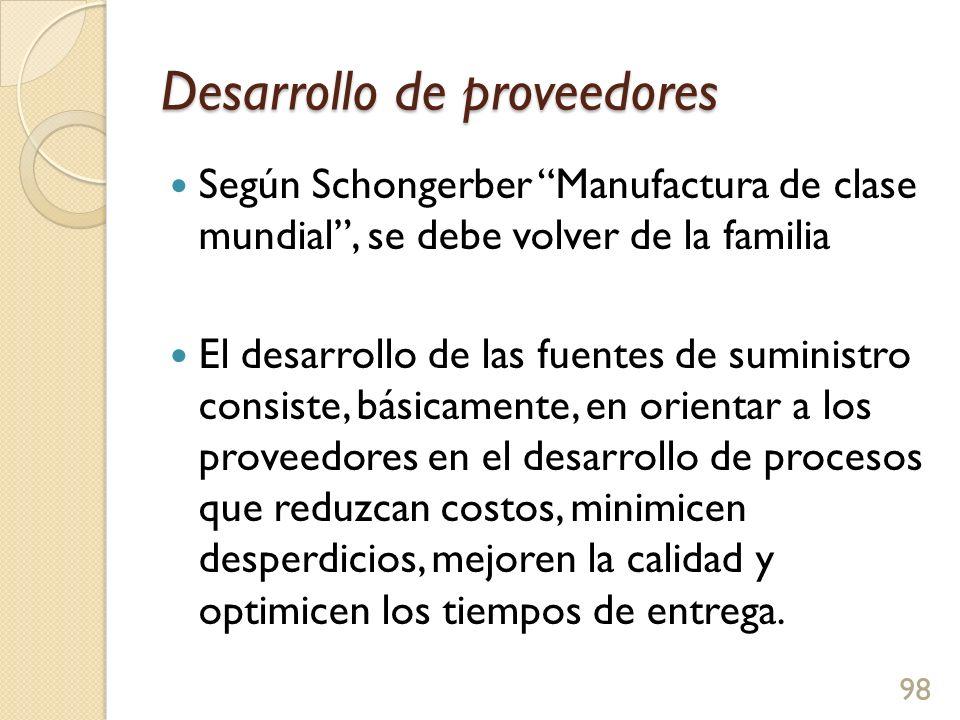 Desarrollo de proveedores Según Schongerber Manufactura de clase mundial, se debe volver de la familia El desarrollo de las fuentes de suministro consiste, básicamente, en orientar a los proveedores en el desarrollo de procesos que reduzcan costos, minimicen desperdicios, mejoren la calidad y optimicen los tiempos de entrega.