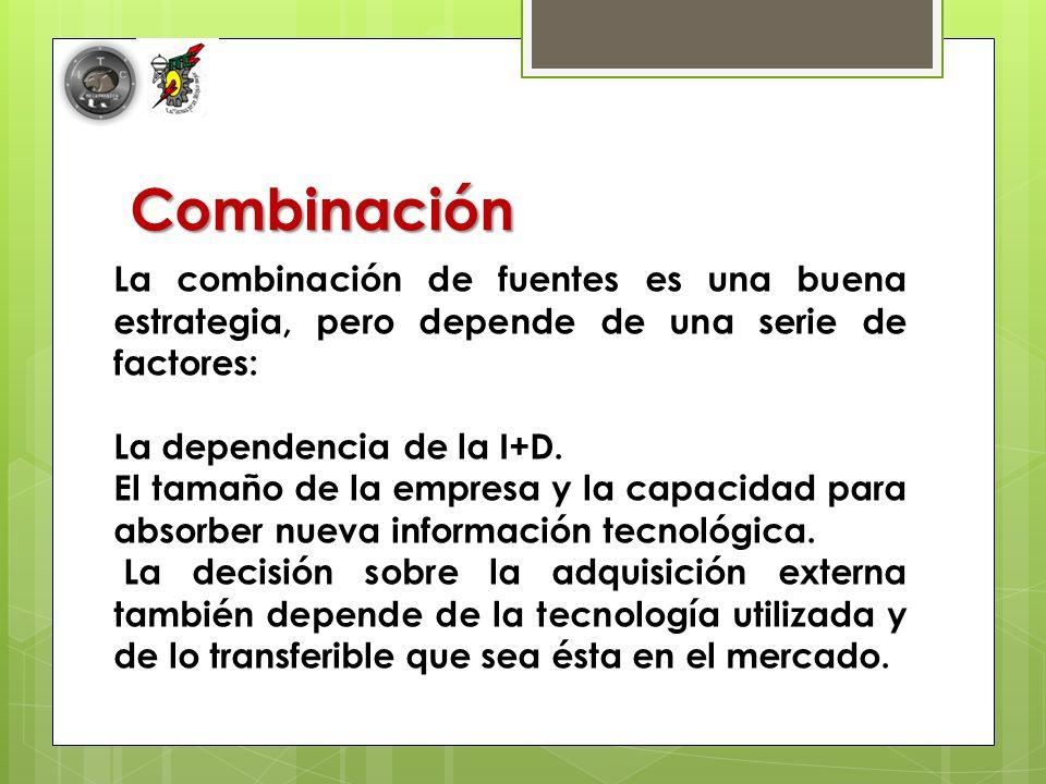 Combinación La combinación de fuentes es una buena estrategia, pero depende de una serie de factores: La dependencia de la I+D.