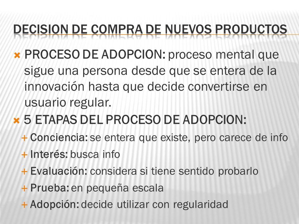 PROCESO DE ADOPCION: proceso mental que sigue una persona desde que se entera de la innovación hasta que decide convertirse en usuario regular. 5 ETAP