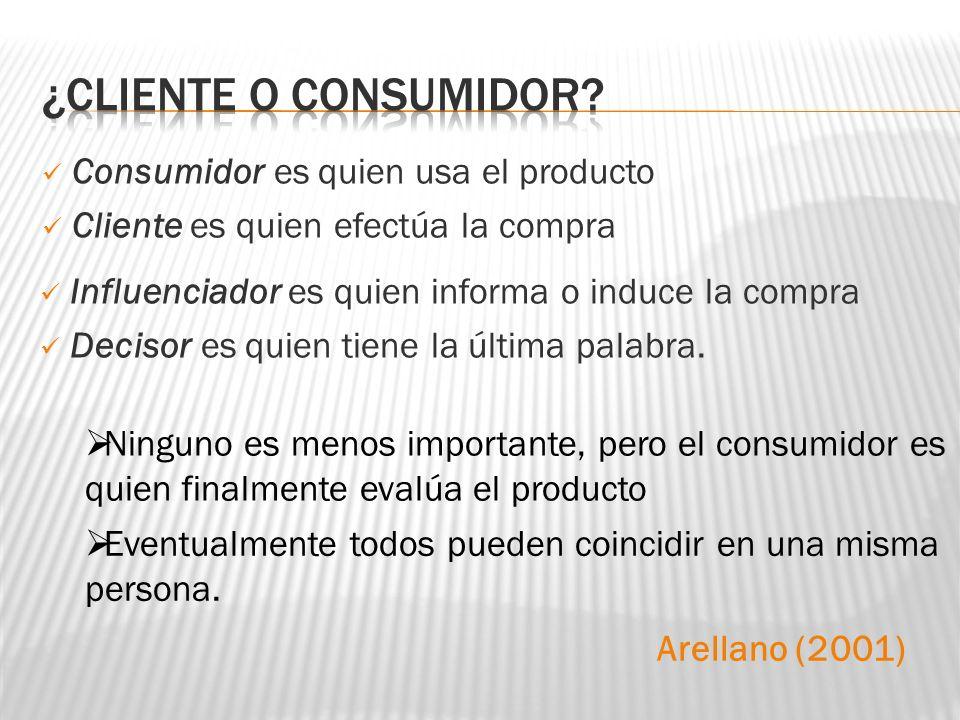 Consumidor es quien usa el producto Cliente es quien efectúa la compra Ninguno es menos importante, pero el consumidor es quien finalmente evalúa el p