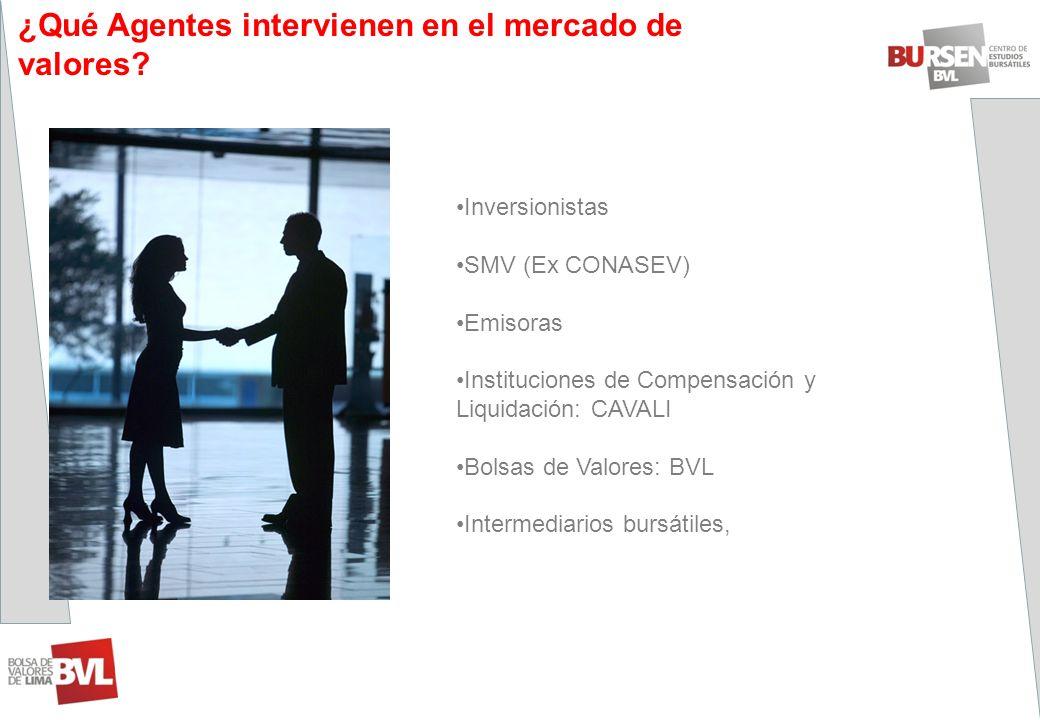 Inversionistas SMV (Ex CONASEV) Emisoras Instituciones de Compensación y Liquidación: CAVALI Bolsas de Valores: BVL Intermediarios bursátiles, ¿Qué Ag