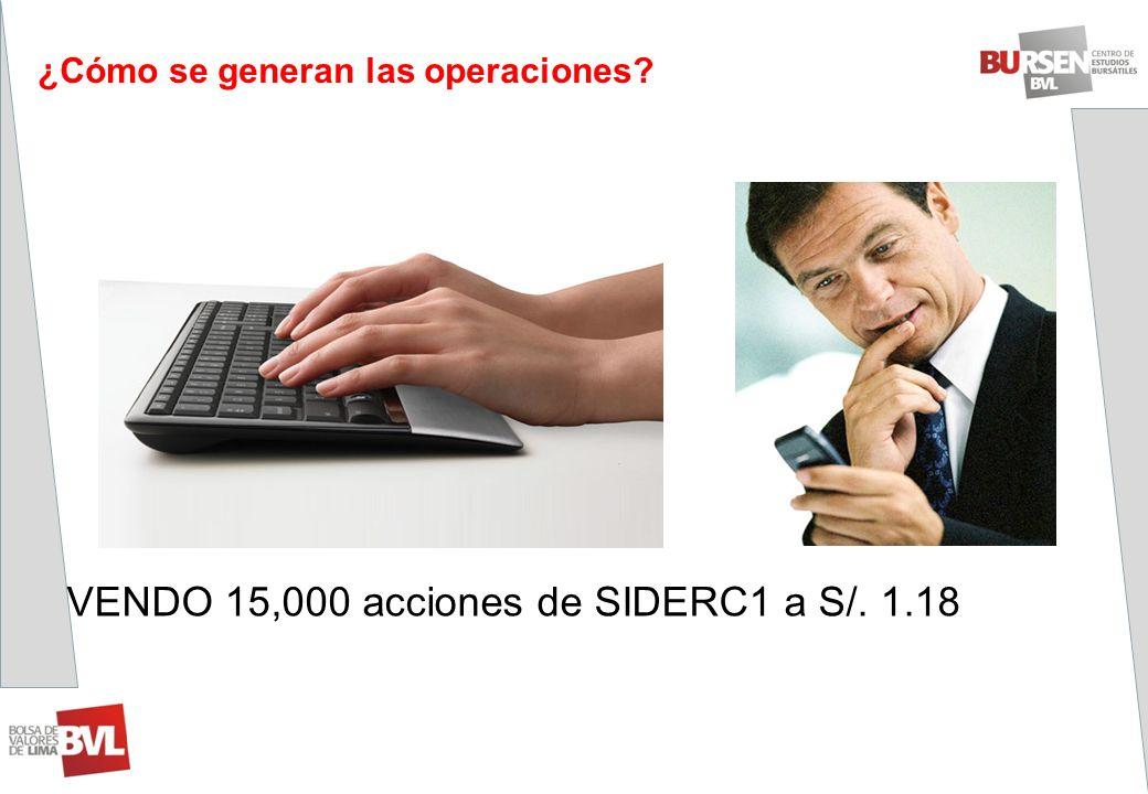 ¿Cómo se generan las operaciones? VENDO 15,000 acciones de SIDERC1 a S/. 1.18