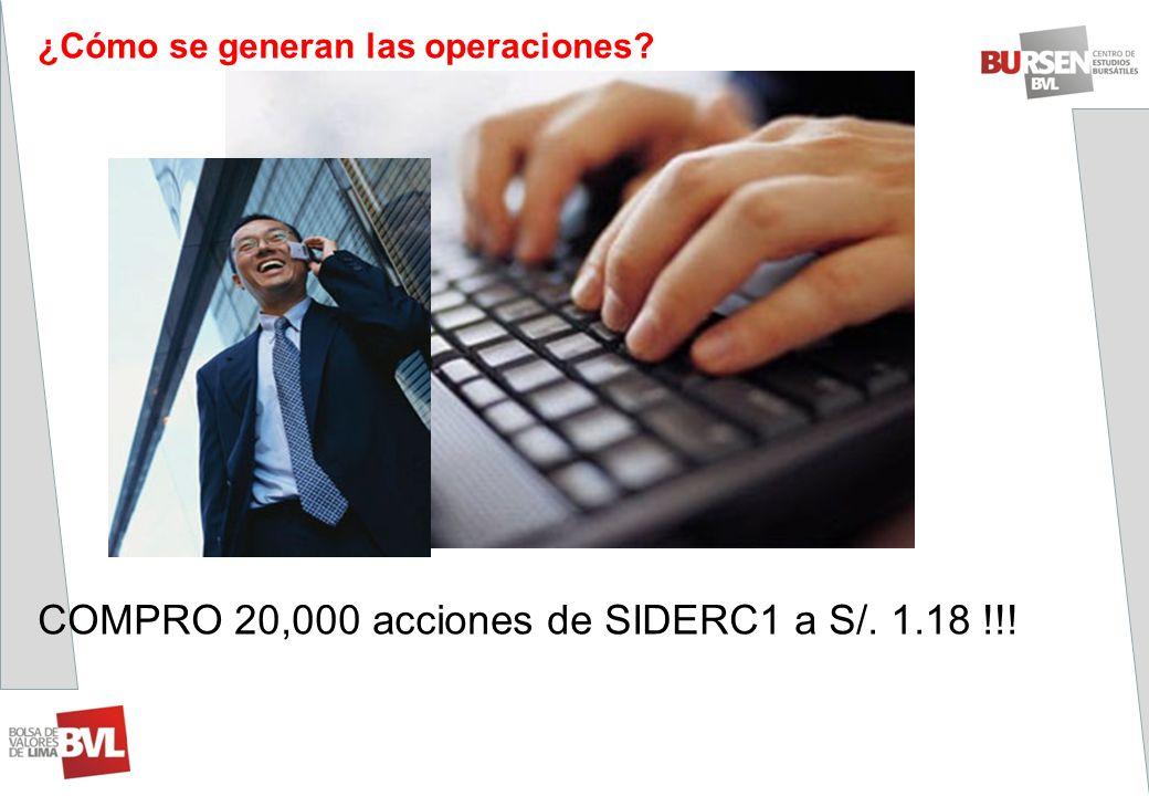 ¿Cómo se generan las operaciones? COMPRO 20,000 acciones de SIDERC1 a S/. 1.18 !!!