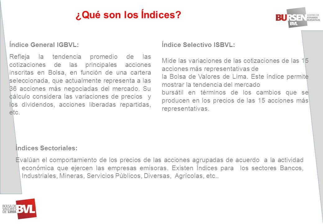 ¿Qué son los Índices? Índice General IGBVL: Refleja la tendencia promedio de las cotizaciones de las principales acciones inscritas en Bolsa, en funci