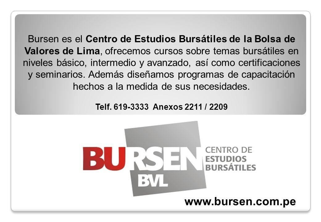 Bursen es el Centro de Estudios Bursátiles de la Bolsa de Valores de Lima, ofrecemos cursos sobre temas bursátiles en niveles básico, intermedio y ava
