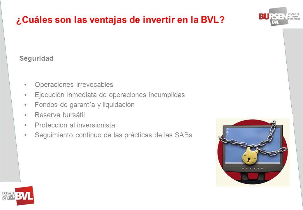 ¿Cuáles son las ventajas de invertir en la BVL? Seguridad Operaciones irrevocables Ejecución inmediata de operaciones incumplidas Fondos de garantía y