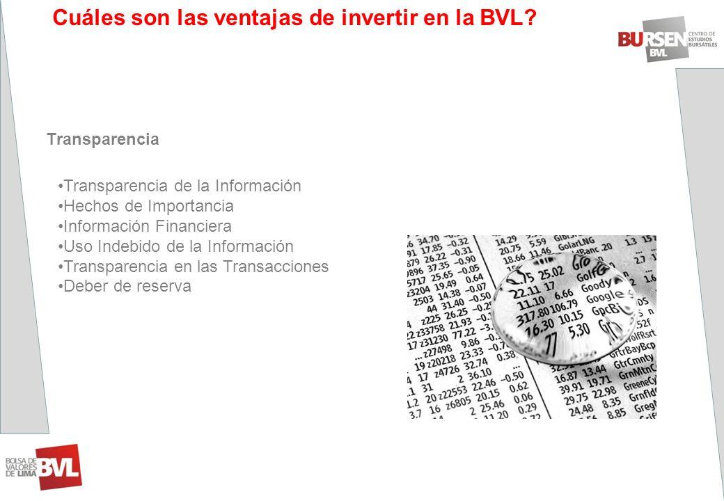 ¿Cuáles son las ventajas de invertir en la BVL? Transparencia Transparencia de la Información Hechos de Importancia Información Financiera Uso Indebid