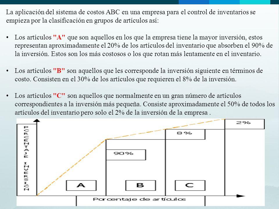 La aplicación del sistema de costos ABC en una empresa para el control de inventarios se empieza por la clasificación en grupos de artículos así: Los artículos A que son aquellos en los que la empresa tiene la mayor inversión, estos representan aproximadamente el 20% de los artículos del inventario que absorben el 90% de la inversión.