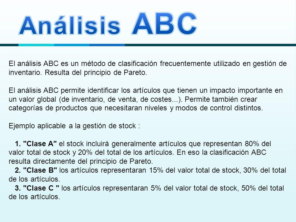 El análisis ABC es un método de clasificación frecuentemente utilizado en gestión de inventario.