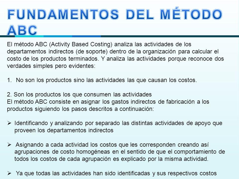 El método ABC (Activity Based Costing) analiza las actividades de los departamentos indirectos (de soporte) dentro de la organización para calcular el costo de los productos terminados.