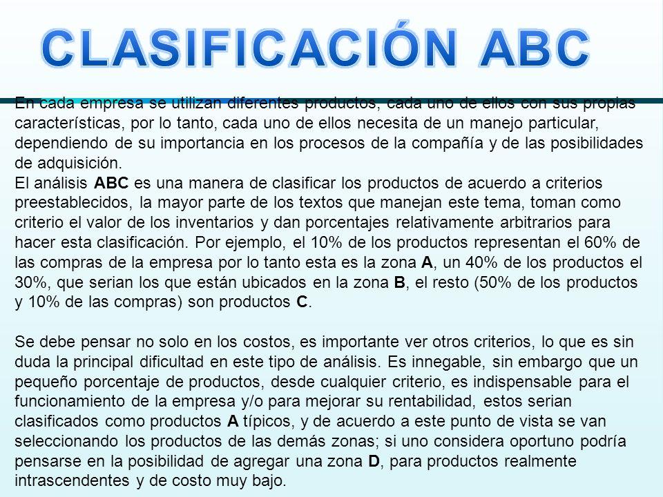 La siguiente gráfica nos da una visión de la clasificación ABC, no se utilizaron porcentajes en forma explícita, para no caer en la tentación de dogmatizar sobre un valor en particular, la idea es que a los productos de la zona A se le busquen modelos que permitan un control muy fuerte sobre el criterio clave que se esté manejando y a medida que se alejen los productos de esta zona, los modelos puedan ser más flexibles; esto no quiere decir que se descuide el control físico de los inventarios, ya que como se mencionó en la introducción ese no es el objetivo del presente fascículo.