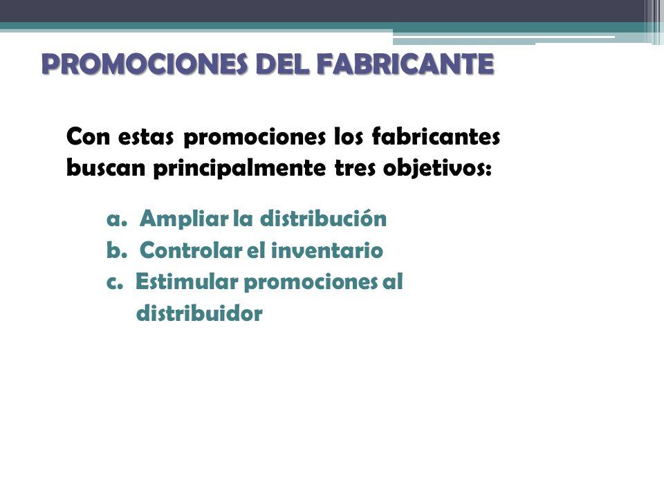 PROMOCIONES DEL FABRICANTE Con estas promociones los fabricantes buscan principalmente tres objetivos: a. Ampliar la distribución b. Controlar el inve