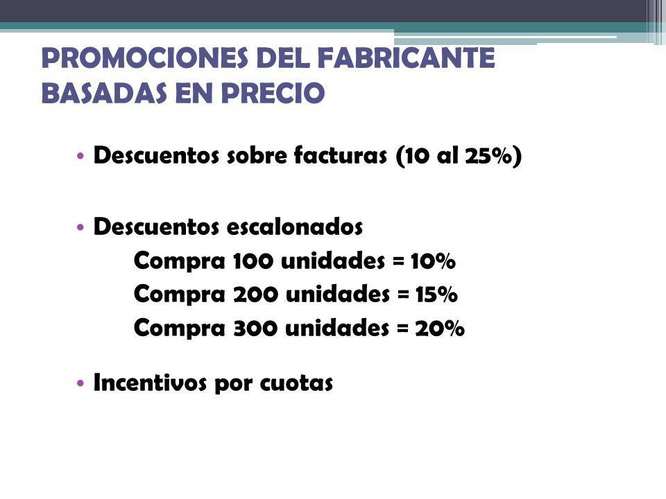 PROMOCIONES DEL FABRICANTE BASADAS EN PRECIO Descuentos sobre facturas (10 al 25%) Descuentos escalonados Compra 100 unidades = 10% Compra 200 unidade