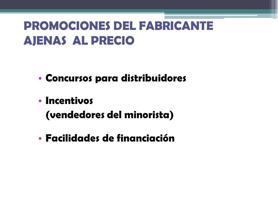 PROMOCIONES DEL FABRICANTE AJENAS AL PRECIO Concursos para distribuidores Incentivos (vendedores del minorista) Facilidades de financiación