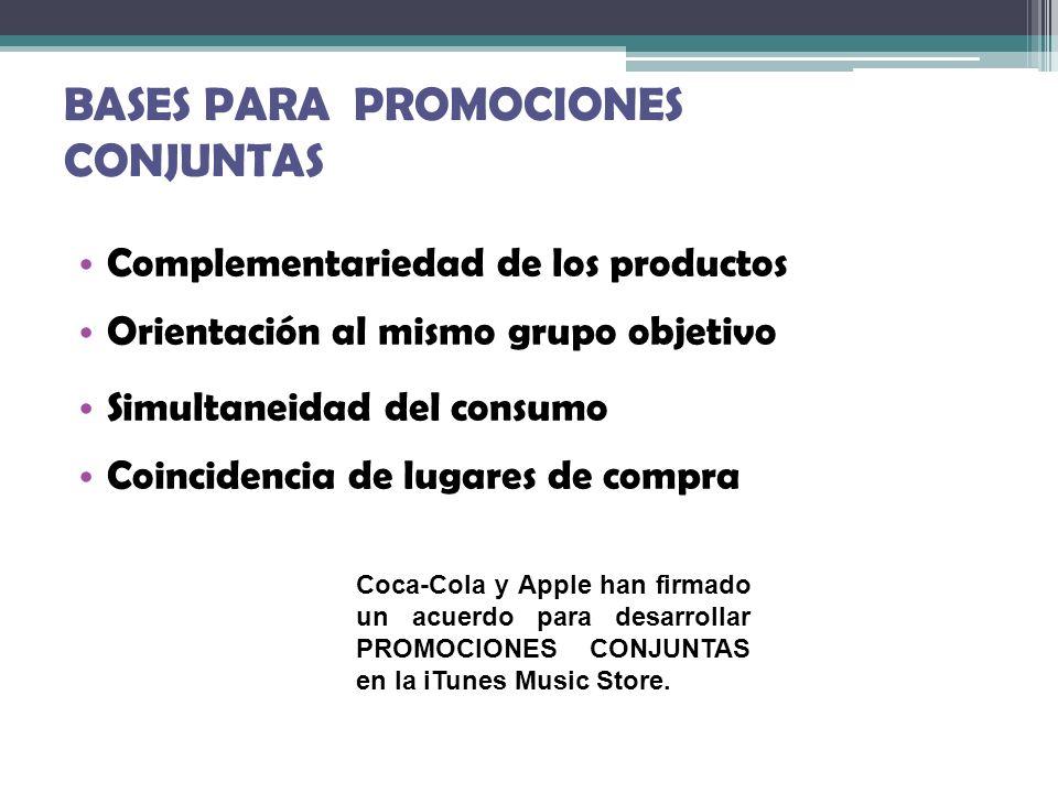BASES PARA PROMOCIONES CONJUNTAS Complementariedad de los productos Orientación al mismo grupo objetivo Simultaneidad del consumo Coincidencia de luga