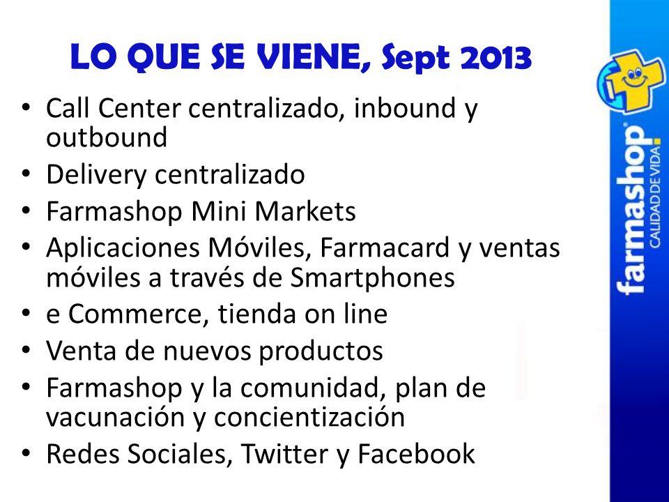 LO QUE SE VIENE, Sept 2013 Call Center centralizado, inbound y outbound Delivery centralizado Farmashop Mini Markets Aplicaciones Móviles, Farmacard y