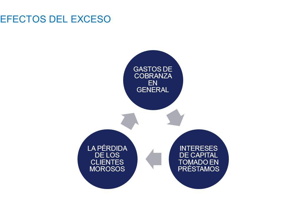 EFECTOS DEL EXCESO GASTOS DE COBRANZA EN GENERAL INTERESES DE CAPITAL TOMADO EN PRÉSTAMOS LA PÉRDIDA DE LOS CLIENTES MOROSOS