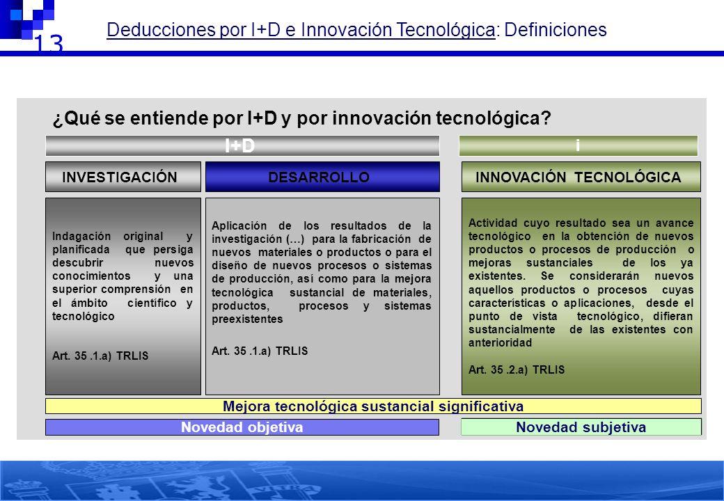 13 1.- INCENTIVOS FISCALES POR ACTIVIDADES DE I+D+i Deducciones por I+D e Innovación Tecnológica: Definiciones ¿Qué se entiende por I+D y por innovaci