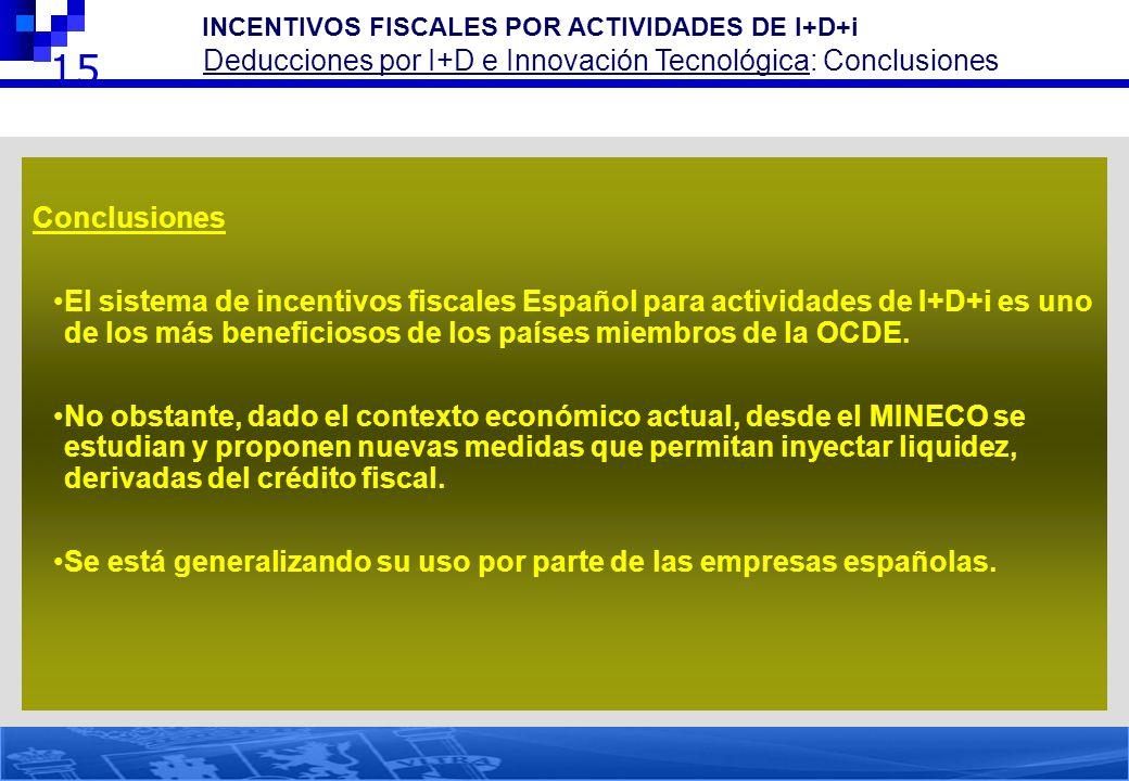 15 Conclusiones El sistema de incentivos fiscales Español para actividades de I+D+i es uno de los más beneficiosos de los países miembros de la OCDE.