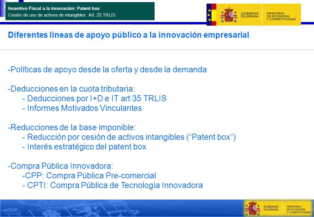 Incentivo Fiscal a la innovación: Patent box Cesión de uso de activos de intangibles. Art. 23 TRLIS Diferentes líneas de apoyo público a la innovación