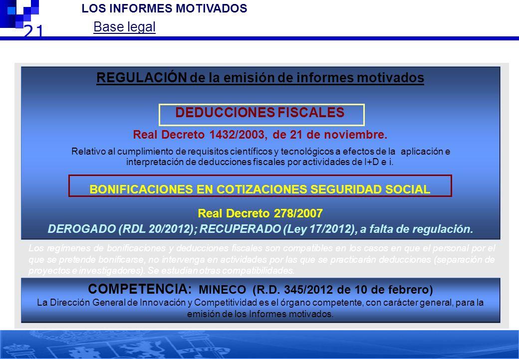 21 2.- LOS INFORMES MOTIVADOS Base legal REGULACIÓN de la emisión de informes motivados DEDUCCIONES FISCALES Real Decreto 1432/2003, de 21 de noviembr
