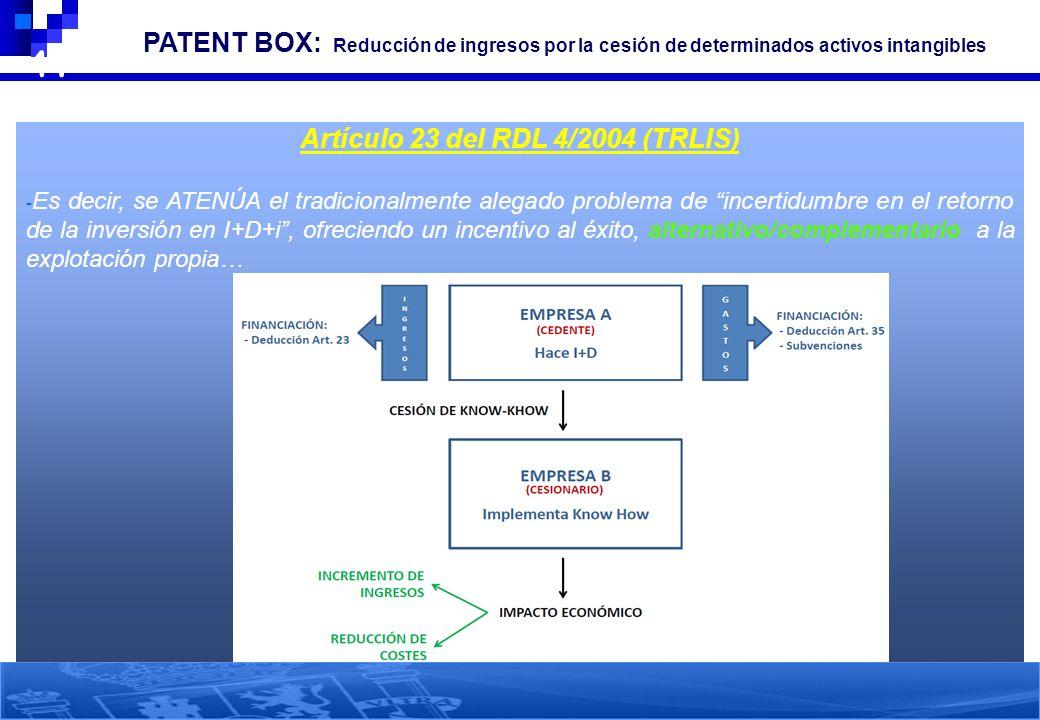 41 3. PATENT BOX: Reducción de ingresos por la cesión de determinados activos intangibles Artículo 23 del RDL 4/2004 (TRLIS) - Es decir, se ATENÚA el