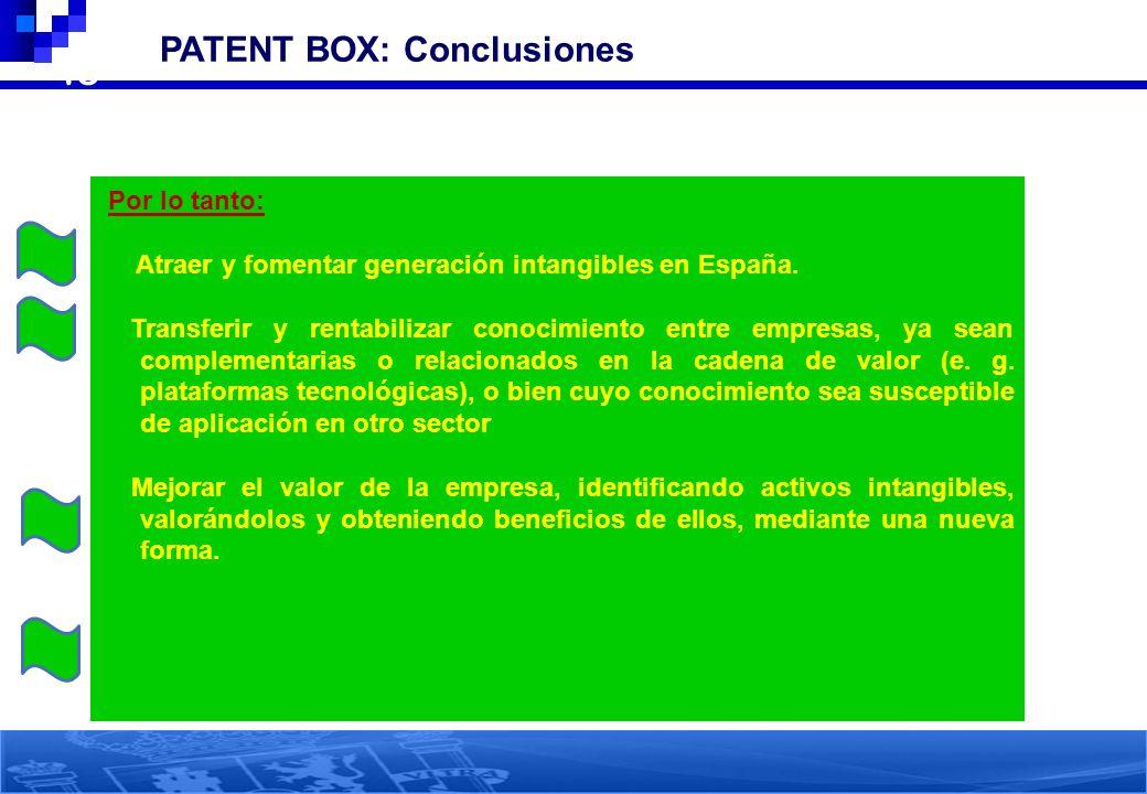 45 PATENT BOX: Conclusiones Por lo tanto: Atraer y fomentar generación intangibles en España. Transferir y rentabilizar conocimiento entre empresas, y