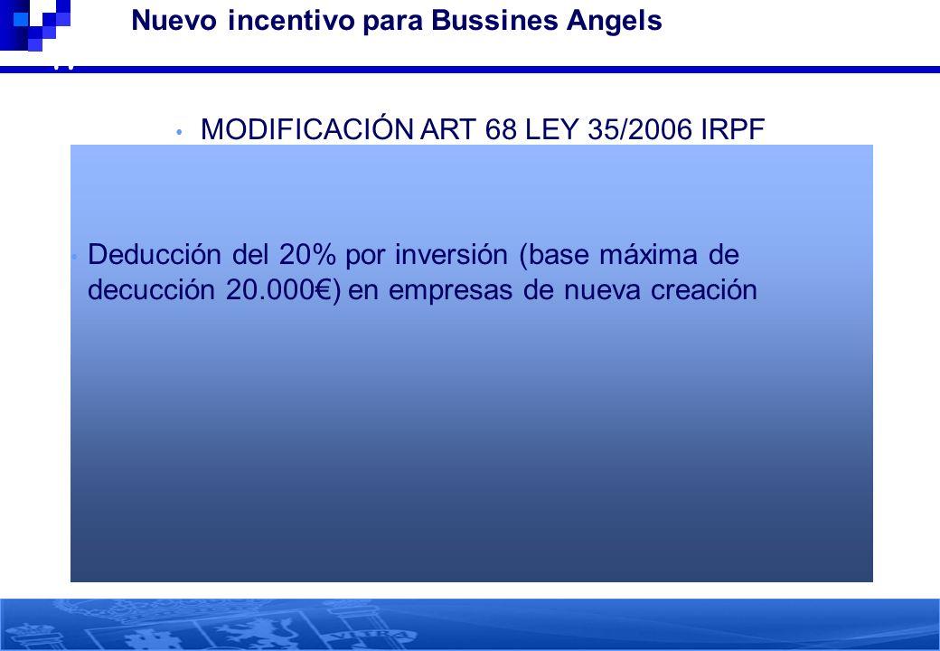 47 Nuevo incentivo para Bussines Angels MODIFICACIÓN ART 68 LEY 35/2006 IRPF Deducción del 20% por inversión (base máxima de decucción 20.000) en empr