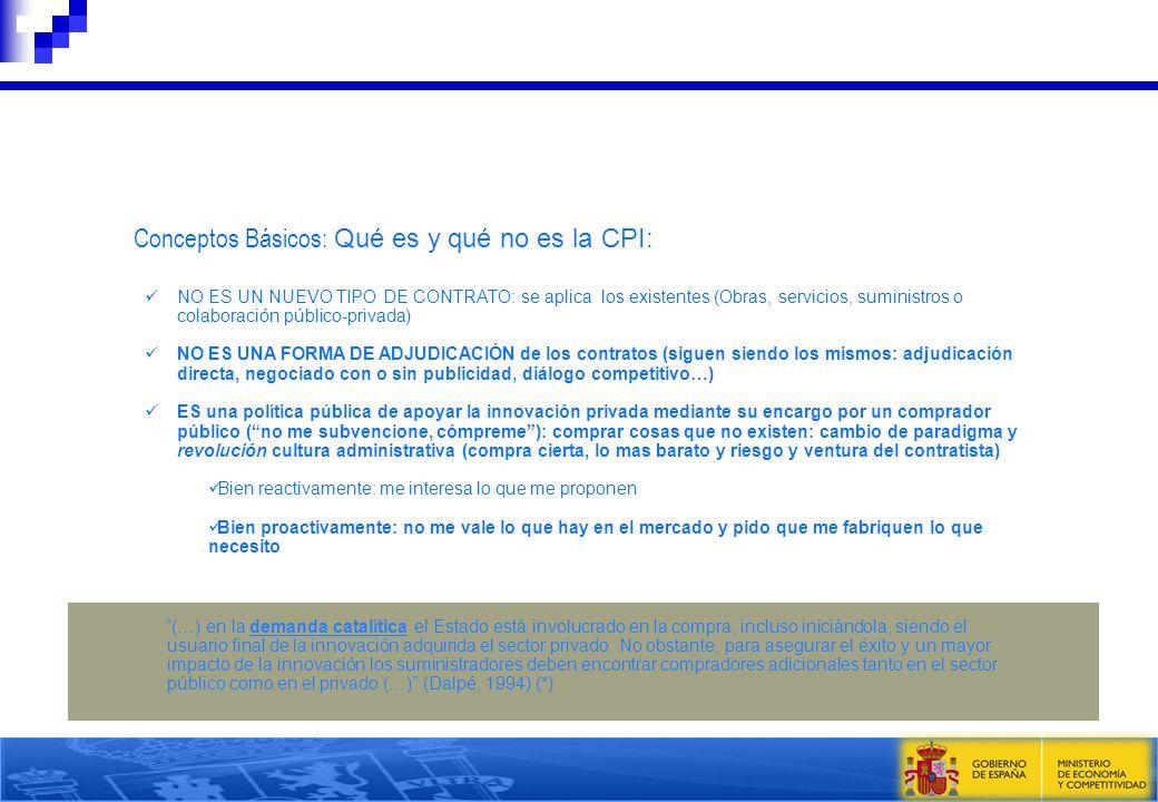 Conceptos Básicos: Qué es y qué no es la CPI: NO ES UN NUEVO TIPO DE CONTRATO: se aplica los existentes (Obras, servicios, suministros o colaboración