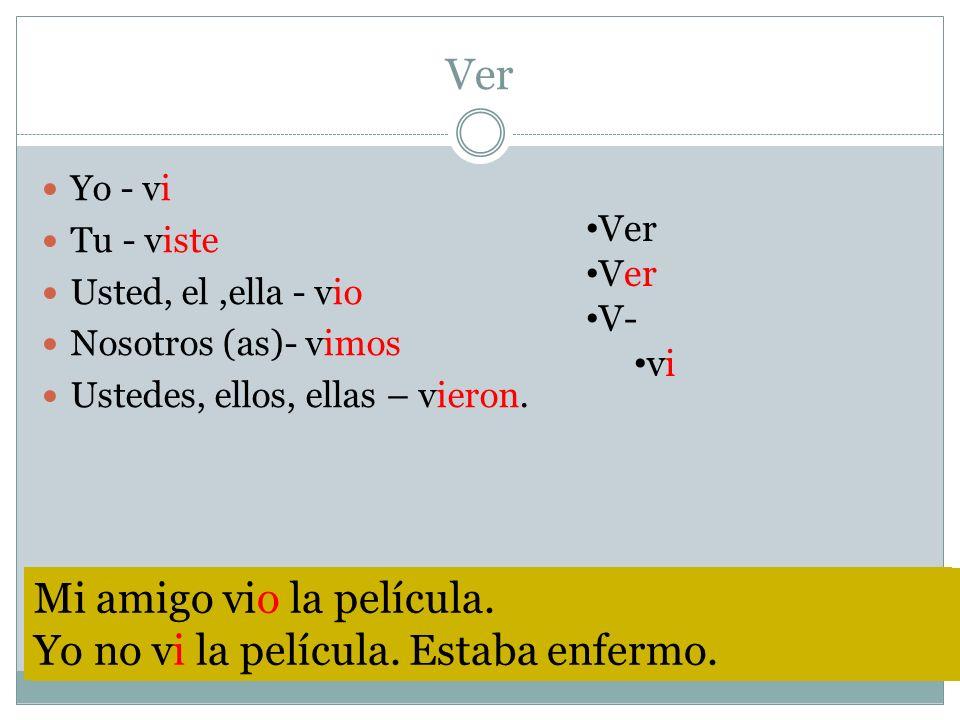 Ver Yo - vi Tu - viste Usted, el,ella - vio Nosotros (as)- vimos Ustedes, ellos, ellas – vieron. Ver V- vi The verb volver does not haver an accent on