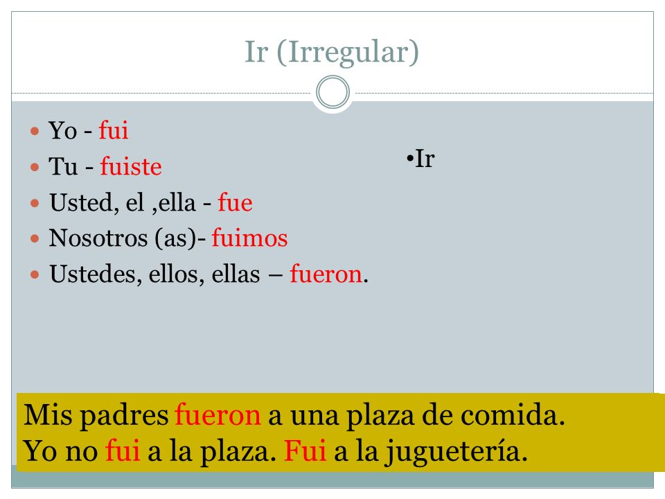 Ir (Irregular) Yo - fui Tu - fuiste Usted, el,ella - fue Nosotros (as)- fuimos Ustedes, ellos, ellas – fueron. Ir The verb volver does not haver an ac