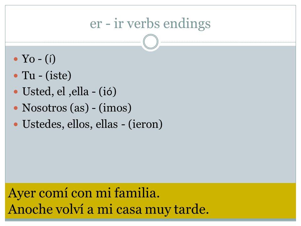er - ir verbs endings Yo - ( í ) Tu - (iste) Usted, el,ella - (i ó ) Nosotros (as) - (imos) Ustedes, ellos, ellas - (ieron) Ayer comí con mi familia.