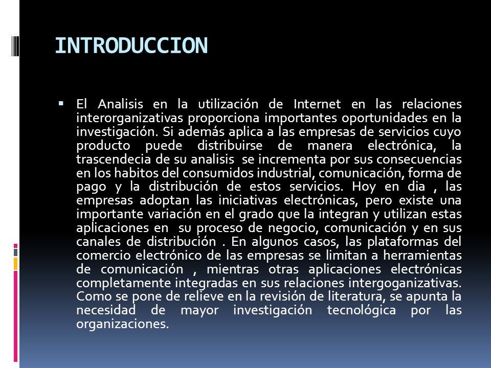 INTRODUCCION El Analisis en la utilización de Internet en las relaciones interorganizativas proporciona importantes oportunidades en la investigación.