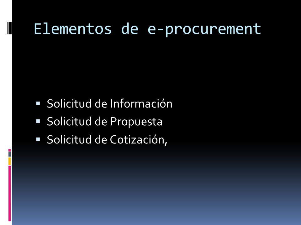 Elementos de e-procurement Solicitud de Información Solicitud de Propuesta Solicitud de Cotización,