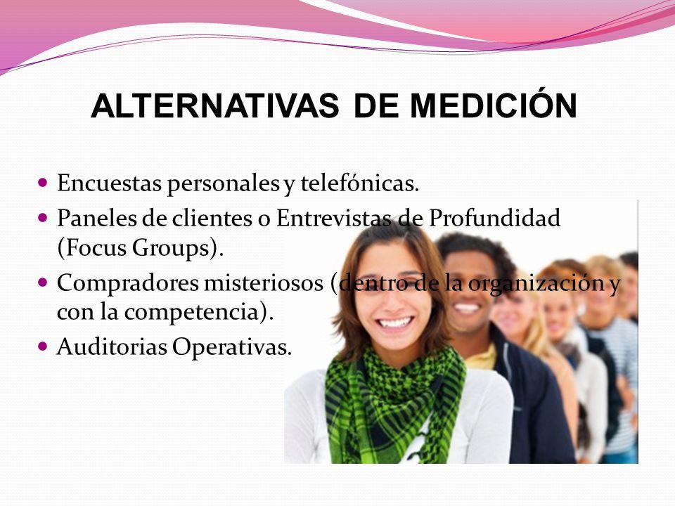 ALTERNATIVAS DE MEDICIÓN Encuestas personales y telefónicas.
