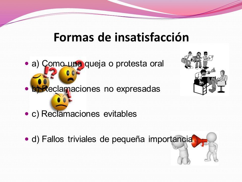 Formas de insatisfacción a) Como una queja o protesta oral b) Reclamaciones no expresadas c) Reclamaciones evitables d) Fallos triviales de pequeña importancia