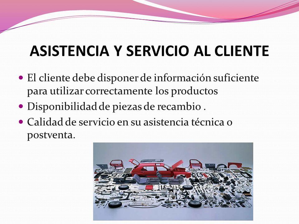 ASISTENCIA Y SERVICIO AL CLIENTE El cliente debe disponer de información suficiente para utilizar correctamente los productos Disponibilidad de piezas de recambio.